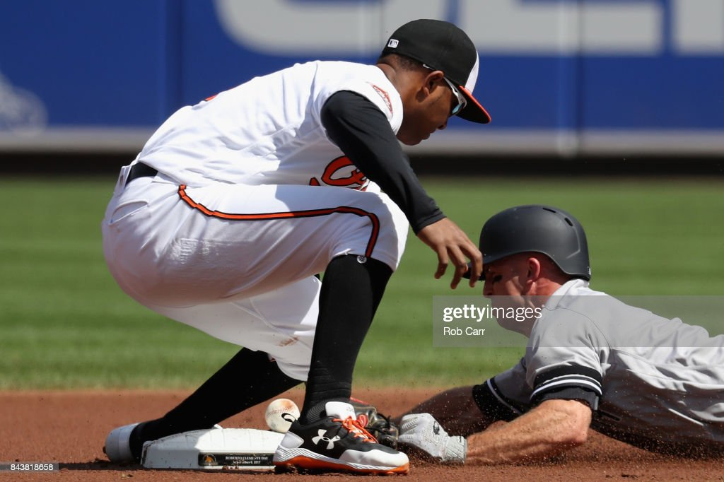 Brett Gardner #11 of the New York Yankees steals second base as Jonathan Schoop #6 of the Baltimore Orioles drops the ball during the first inning at Oriole Park at Camden Yards on September 7, 2017 in Baltimore, Maryland.