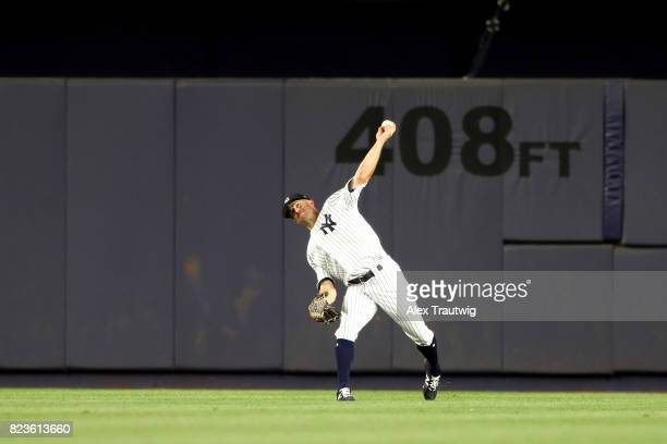Brett Gardner of the New York Yankees throws after making a catch during the game against the Cincinnati Reds at Yankee Stadium on Tuesday July 2017...