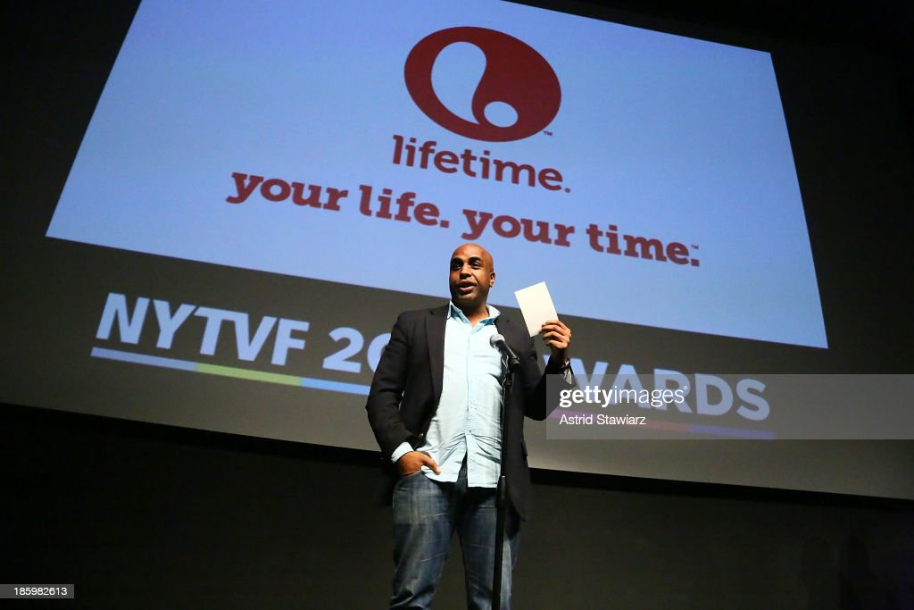 Brett Gay accepts the Lifetime Unscripted Development Pipeline award for 'Sisters of the Game' during the awards ceremony at the 9th Annual New York Television festival at SVA Theater on October 26, 2013 in New York City.