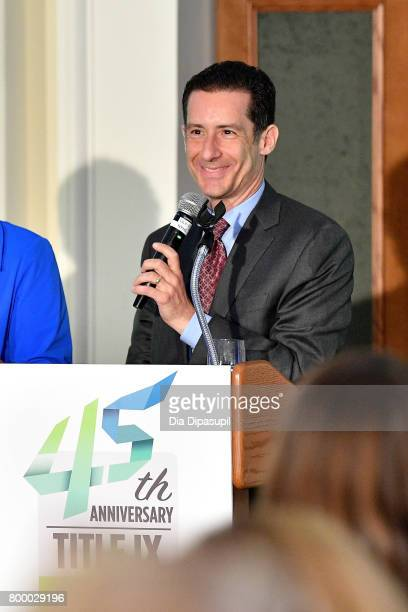 Brett Goodman speaks onstage during the Women's Sports Foundation 45th Anniversary of Title IX celebration at the NewYork Historical Society on June...