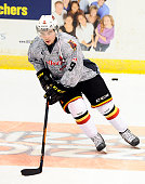 Brett Gustavsen of the Belleville Bulls takes warmup prior to a game against the Mississauga Steelheads on January 16 2015 at the Hershey Centre in...