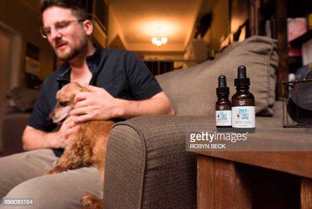 Brett Hartman discusses the use of cannabis to treat aliments in animals as he sits with his dog Brutus a 13yearold Dachshund June 7 2017 at his home...