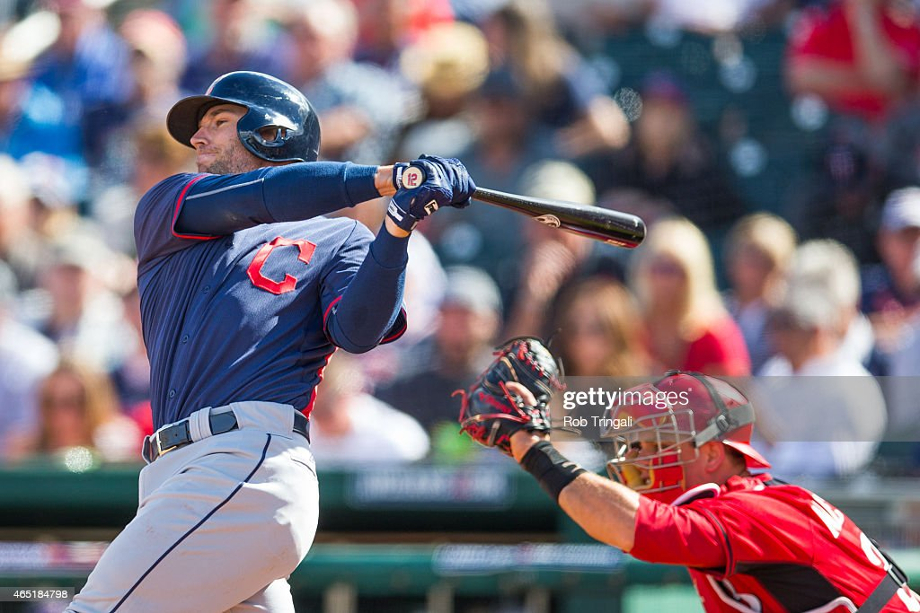 <a gi-track='captionPersonalityLinkClicked' href=/galleries/search?phrase=Brett+Hayes&family=editorial&specificpeople=795648 ng-click='$event.stopPropagation()'>Brett Hayes</a> #12 of the Cleveland Indians bats during a spring training game against the Cincinnati Reds at Goodyear Ballpark on March 3, 2015 in Goodyear, Arizona.