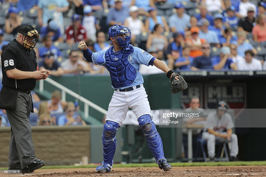 <a gi-track='captionPersonalityLinkClicked' href=/galleries/search?phrase=Brett+Hayes&family=editorial&specificpeople=795648 ng-click='$event.stopPropagation()'>Brett Hayes</a> #12 of the Kansas City Royals throws the ball back to the mound against the Detroit Tigers at Kauffman Stadium on July 13, 2014 at Kauffman Stadium in Kansas City, Missouri.