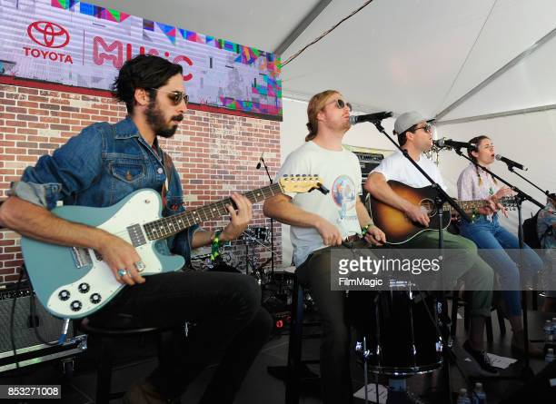 Brett Hite and James Sunderland of Frenship perform with musicians at the Toyota Music Den during day 3 of the 2017 Life Is Beautiful Festival on...