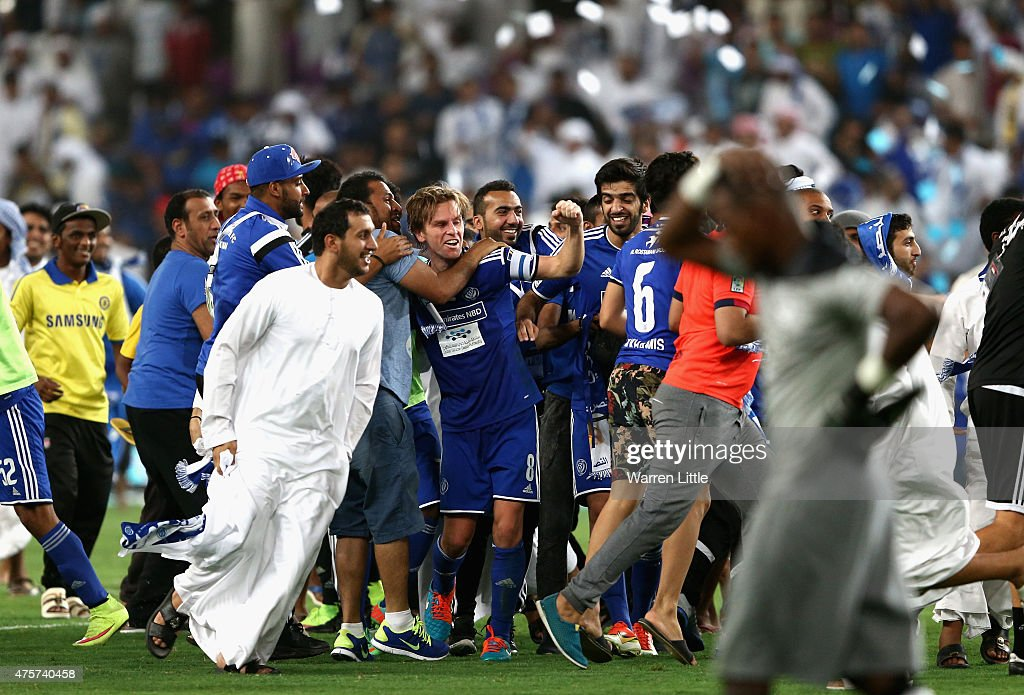 Brett Holman Al Nasr Captain is mobbed by Al Nasr fans after winning the penalty shoot out to win the President's Cup Final between Al Ahli and Al...