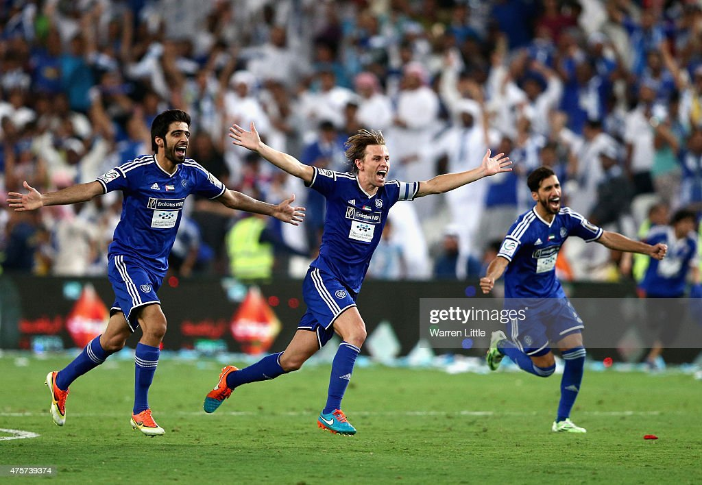 Brett Holman, Al Nasr Captain leads the celebrations after winning the penalty shoot out to win the President's Cup Final between Al Ahli and Al Nasr at Hazza bin Zayed Stadium on June 3, 2015 in Al Ain, United Arab Emirates.