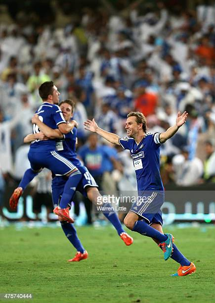 Brett Holman Al Nasr Captain leads the celebrations after winning the penalty shoot out to win the President's Cup Final between Al Ahli and Al Nasr...