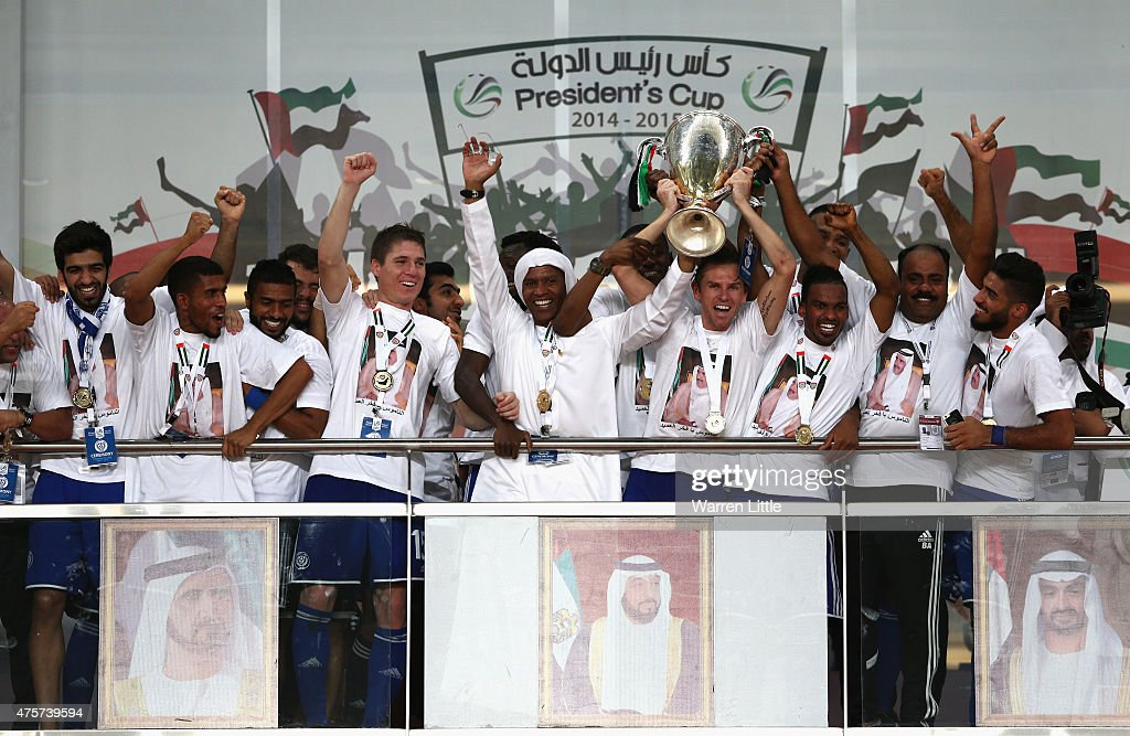 Brett Holman, Captain of Al Nasr team leads celebrations winning the President's Cup Final after a penalty shoot out between Al Ahli and Al Nasr at Hazza bin Zayed Stadium on June 3, 2015 in Al Ain, United Arab Emirates.