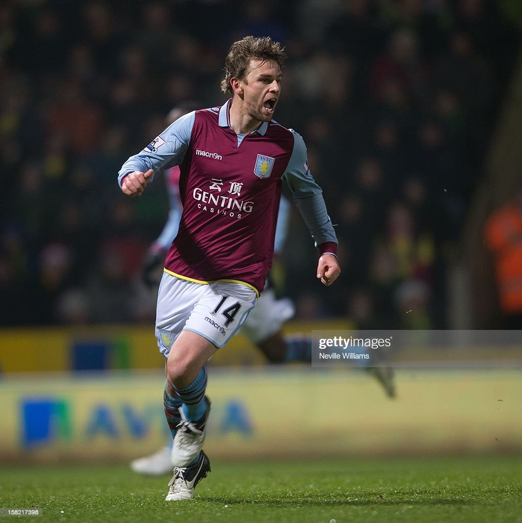 Brett Holman of Aston Villa celebrates his goal during the Capital One Cup Quarter Final match between Norwich City and Aston Villa at Carrow Road on December 11, 2012 in Norwich, England.
