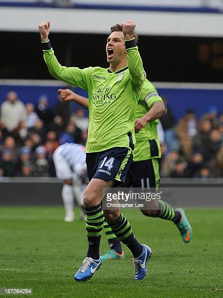 Brett Holman of Aston Villa celebrates scoring the opening goal during the Barclays Premier League match between Queens Park Rangers and Aston Villa...