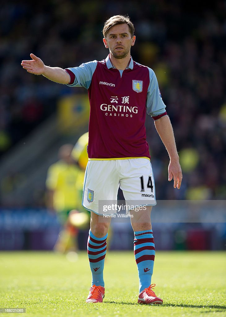 Brett Holman of Aston Villa during the Barclays Premier League match between Norwich City and Aston Villa at Carrow Road on May 04 2013 in Norwich...