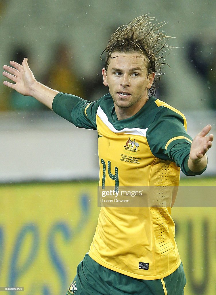 Brett Holman of Australia celebrates a goal during the 2010 FIFA World Cup PreTournament match between the Australian Socceroos and the New Zealand...