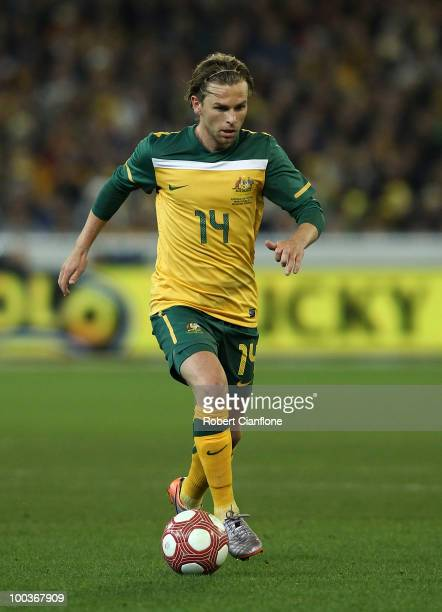 Brett Holman of Australia controls the ball during the 2010 FIFA World Cup PreTournament match between the Australian Socceroos and the New Zealand...