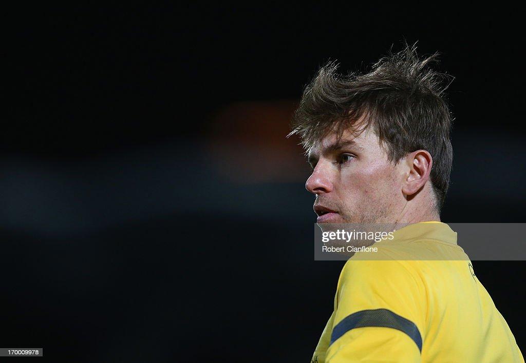 Brett Holman of Australia looks on during an Australian Socceroos training session at Lakeside Stadium on June 6 2013 in Melbourne Australia