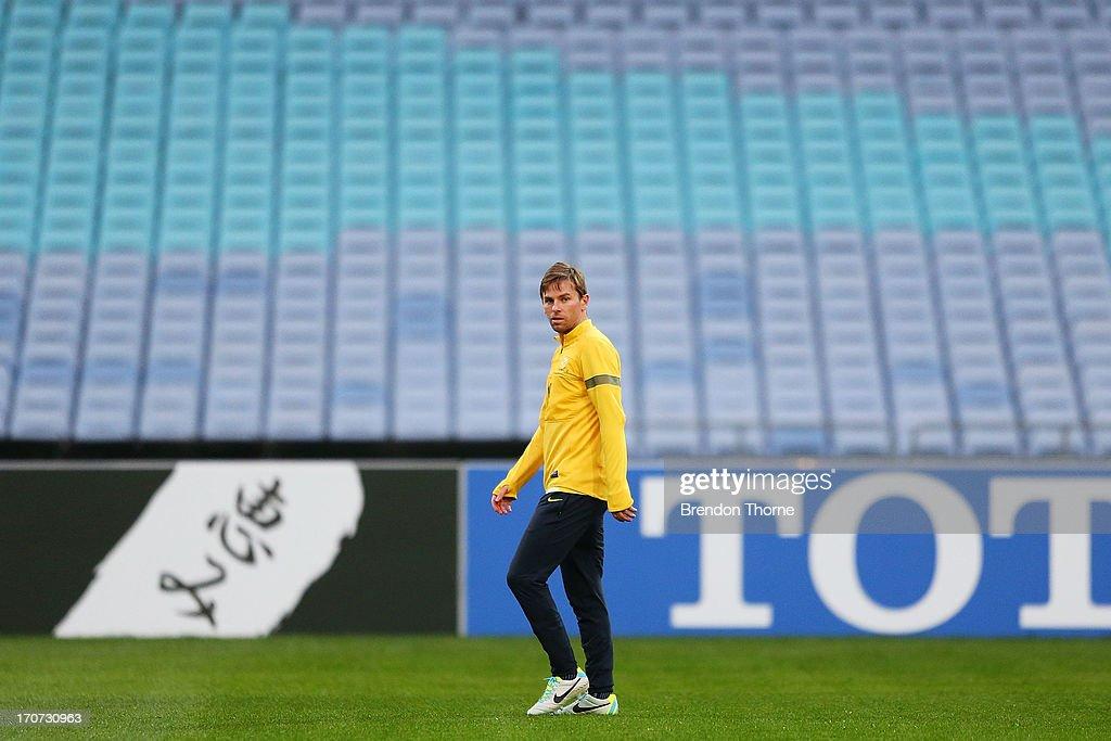 Brett Holman of Australia looks on during an Australian Socceroos training session at ANZ Stadium on June 17 2013 in Sydney Australia