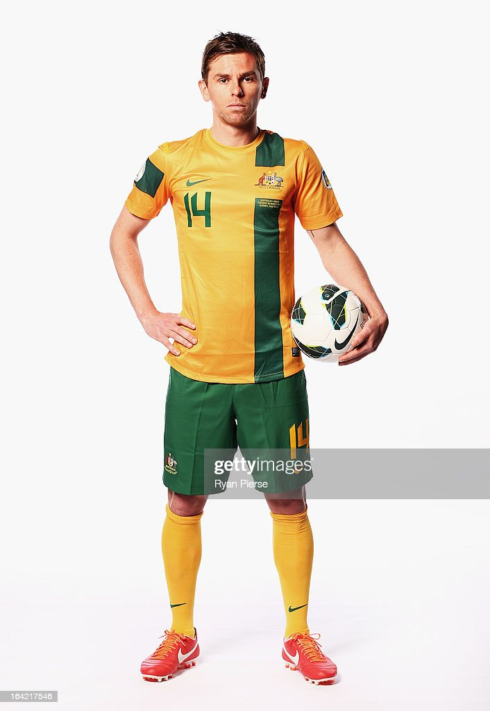 <a gi-track='captionPersonalityLinkClicked' href=/galleries/search?phrase=Brett+Holman&family=editorial&specificpeople=2224226 ng-click='$event.stopPropagation()'>Brett Holman</a> of Australia poses during a Socceroos Portrait Session on March 21, 2013 in Sydney, Australia.