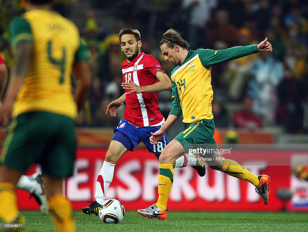 Brett Holman of Australia scores during the 2010 FIFA World Cup South Africa Group D match between Australia and Serbia at Mbombela Stadium on June...