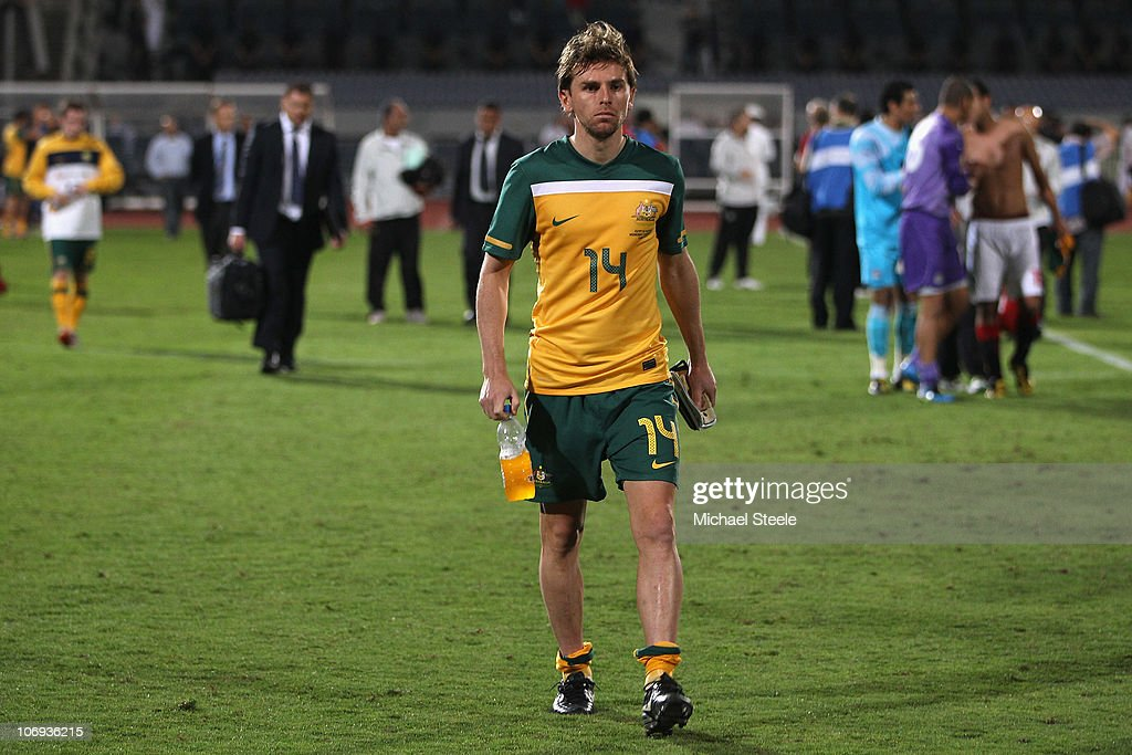 Brett Holman of Australia walks off the field after his teams 03 defeat during the Egypt v Australia International Friendly match at the Cairo...