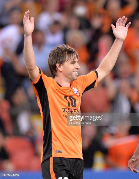 Brett Holman of the Roar celebrates scoring a goal during the AFC Asian Champions League Group Stage match between the Brisbane Roar and Kashima...