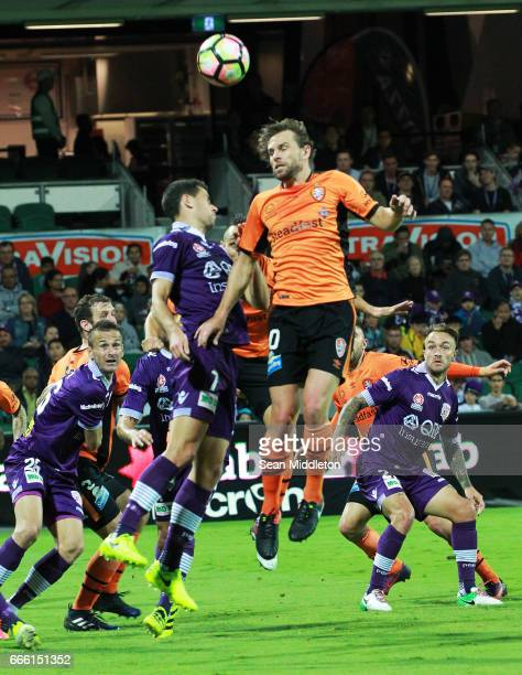Brett Holman of the Roar during the round 26 ALeague match between the Perth Glory and Brisbane Roar at nib Stadium on April 8 2017 in Perth Australia