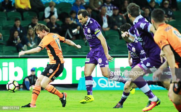 Brett Holman of the Roar on the ball during the round 26 ALeague match between the Perth Glory and Brisbane Roar at nib Stadium on April 8 2017 in...