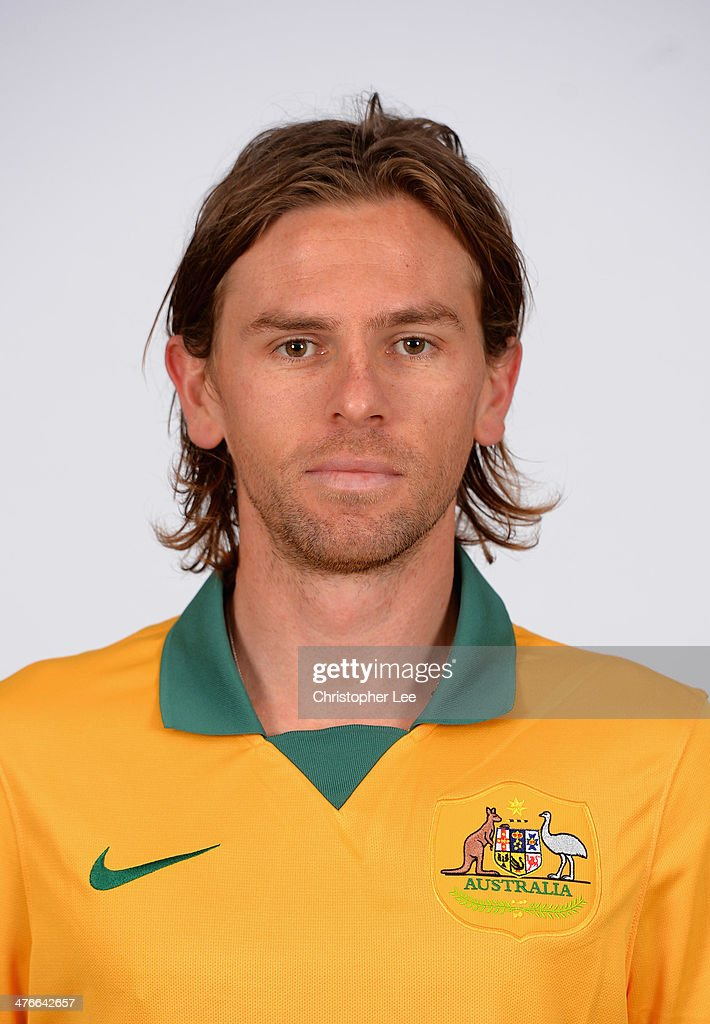 Brett Holman poses for camera during the Socceroos Photocall at the Hotel Verta on March 4 2014 in Battersea England