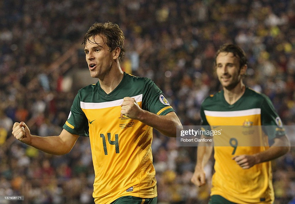 Brett Homan of Australia celebrates after scoring a goal during the 2014 FIFA World Cup Asian Qualifier match between Thailand and the Australian...