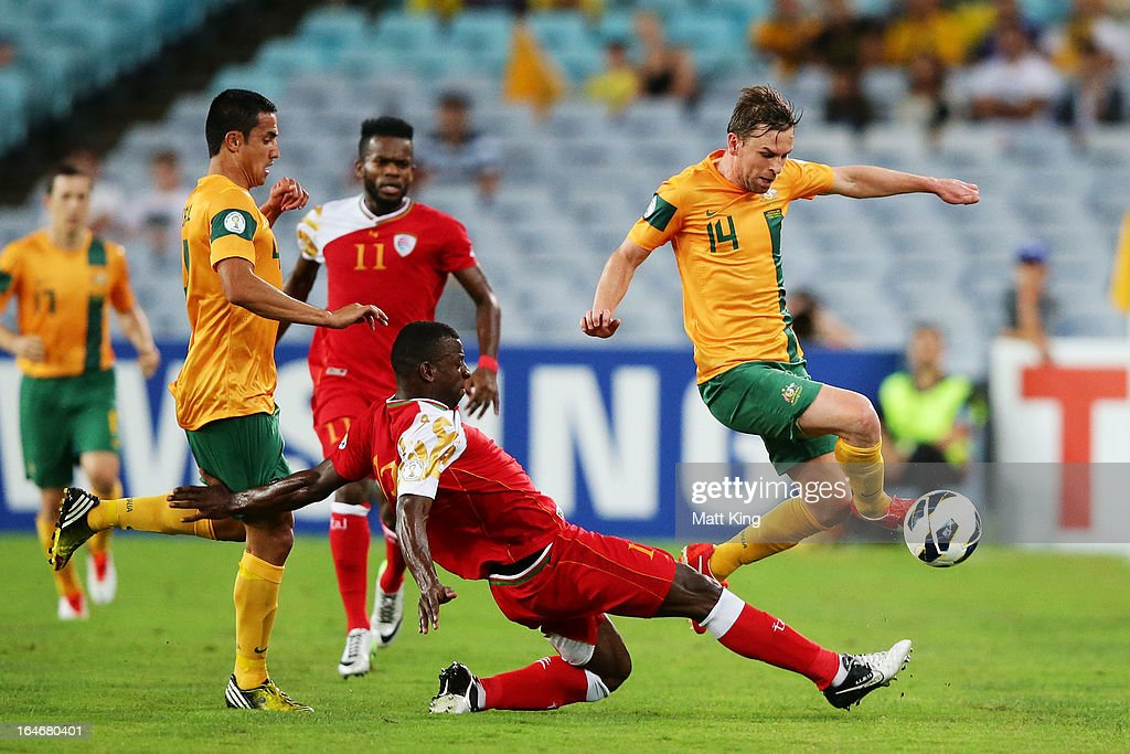 Brett Homan of the Socceroos controls the ball during the FIFA 2014 World Cup Qualifier match between the Australian Socceroos and Oman at ANZ Stadium on March 26, 2013 in Sydney, Australia.