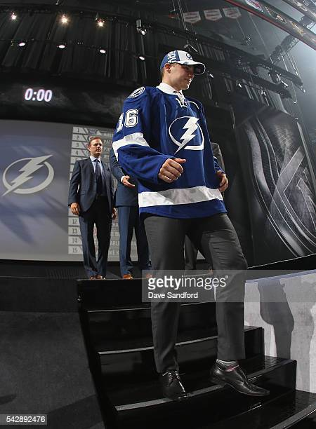 Brett Howden leaves the stage after being selected 27th overall by the Tampa Bay Lightning during round one of the 2016 NHL Draft at First Niagara...
