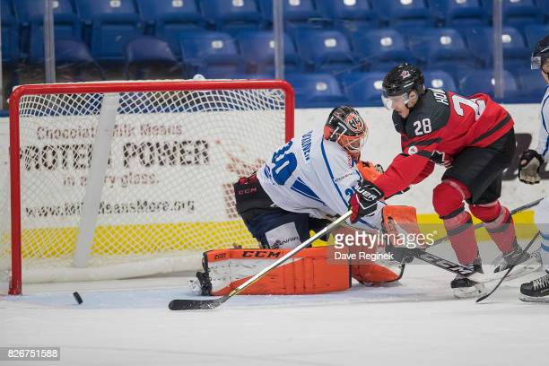 Brett Howden of Canada shoots the puck just wide on UkkoPekka Luukkonen of Finland during a World Jr Summer Showcase game at USA Hockey Arena on...