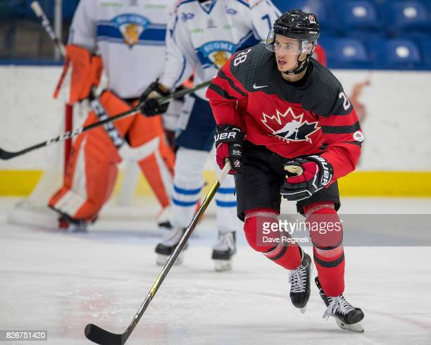 Brett Howden of Canada skates up ice against Finland during a World Jr Summer Showcase game at USA Hockey Arena on August 2 2017 in Plymouth Michigan...