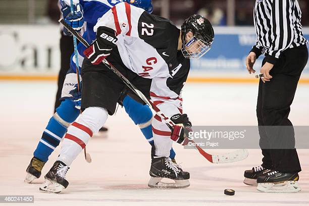 Brett Howden of Canada White moves the puck against Finland during the World Under17 Hockey Challenge on November 2 2014 at the RBC Centre in Sarnia...