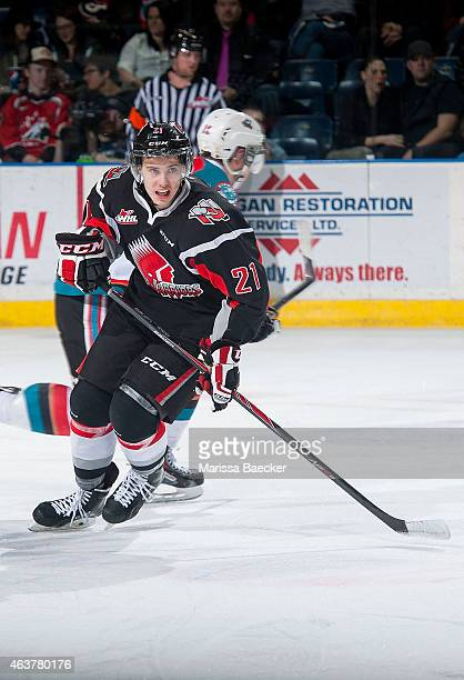 Brett Howden of Moose Jaw Warriors skates against the Kelowna Rockets on February 14 2015 at Prospera Place in Kelowna British Columbia Canada