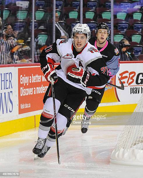 Brett Howden of the Moose Jaw Warriors skates against the Calgary Hitmen during a WHL game at Scotiabank Saddledome on October 15 2015 in Calgary...