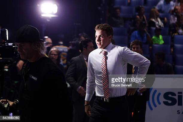Brett Howden reacts after being selected 27th overall by the Tampa Bay Lightning during round one of the 2016 NHL Draft on June 24 2016 in Buffalo...