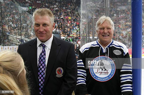 Brett Hull and Bobby Hull man the bench at the Hockey Hall of Fame Legends Game at the Air Canada Centre on November 8 2009 in Toronto Canada