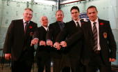 Brett Hull Lou Lamoriello Brian Leetch Luc Robitaille and Steve Yzerman pose with their Hall rings at the Hockey Hall of Fame Induction Photo...