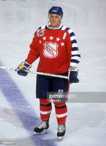 Brett Hull of the Campbell Conference and the St Louis Blues stands on the ice during the 1992 43rd NHL AllStar Game against the Wales Conference on...