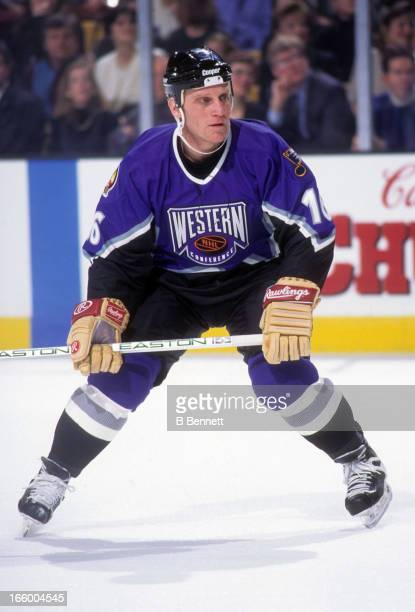 Brett Hull of the Western Conference and the St Louis Blues skates on the ice during the 1996 46th NHL AllStar Game against the Eastern Conference on...