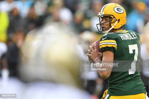 Brett Hundley of the Green Bay Packers drops back to pass during the second quarter against the New Orleans Saints at Lambeau Field on October 22...