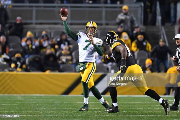 Brett Hundley of the Green Bay Packers drops back to pass in the second half during the game against the Pittsburgh Steelers at Heinz Field on...