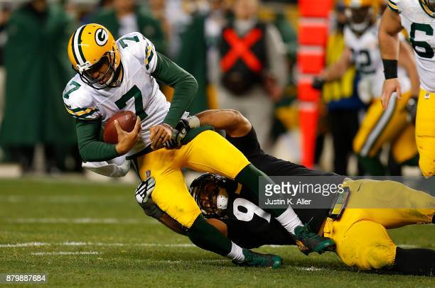 Brett Hundley of the Green Bay Packers is sacked by Cameron Heyward of the Pittsburgh Steelers in the second half during the game at Heinz Field on...