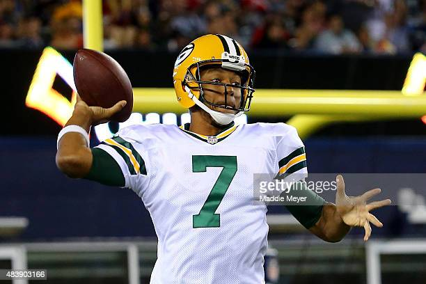 Brett Hundley of the Green Bay Packers looks to pass in the third quarter against the New England Patriots during a preseason game at Gillette...