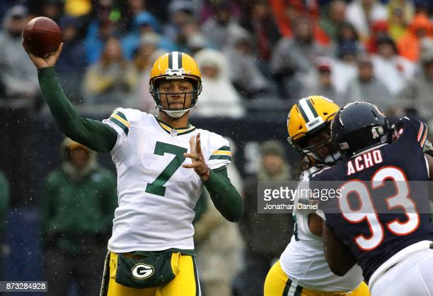 Brett Hundley of the Green Bay Packers looks to pass the football in the first quarter against the Chicago Bears at Soldier Field on November 12 2017...