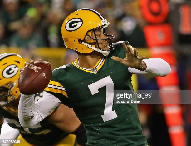 Brett Hundley of the Green Bay Packers passes against the Detroit Lions at Lambeau Field on September 28 2017 in Green Bay Wisconsin The Lions...