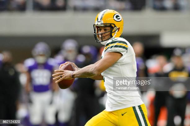 Brett Hundley of the Green Bay Packers passes the ball against the Minnesota Vikings during the game on October 15 2017 at US Bank Stadium in...