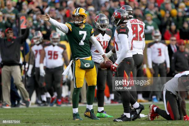 Brett Hundley of the Green Bay Packers reacts after running for a first down in overtime against the Tampa Bay Buccaneers at Lambeau Field on...