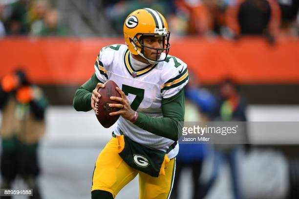 Brett Hundley of the Green Bay Packers runs the ball in the second quarter against the Cleveland Browns at FirstEnergy Stadium on December 10 2017 in...