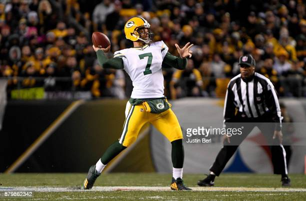 Brett Hundley of the Green Bay Packers throws a 39 yard touchdown to Randall Cobb of the Green Bay Packers in the first quarter during the game...